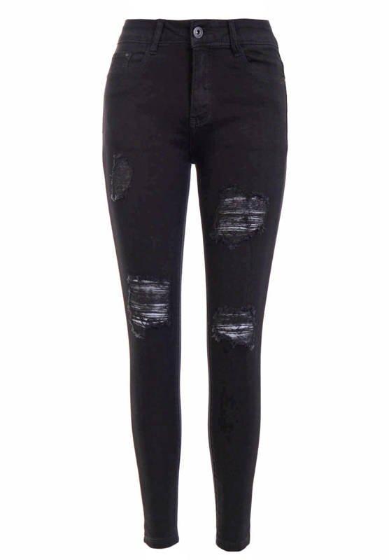 Spodnie Damskie Jeansowe Czarne D3466