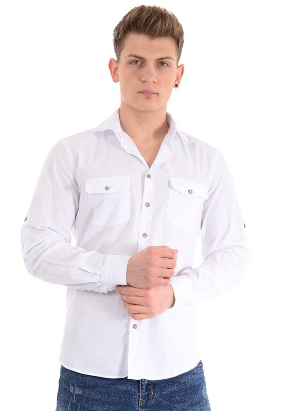 Świetna Męska Koszula Nadruk Brąz Fiolet